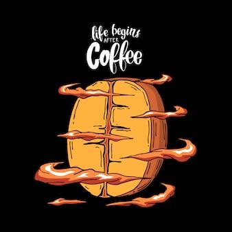 Slogan mit kühler kaffeebohneabbildung
