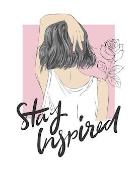 Slogan mit Mädchenillustration