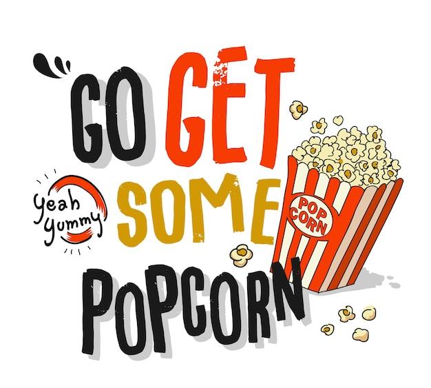 Slogan mit popcornillustration
