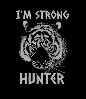 Slogan mit tigerskizzenillustration