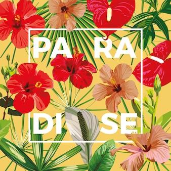 Slogan paradies blumen blätter gelb