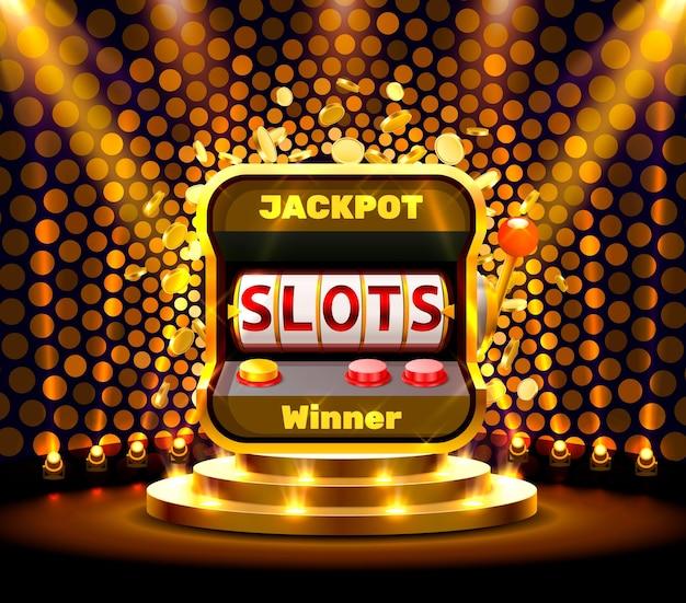 Slots 777 banner casino auf dem goldenen hintergrund. vektor-illustration
