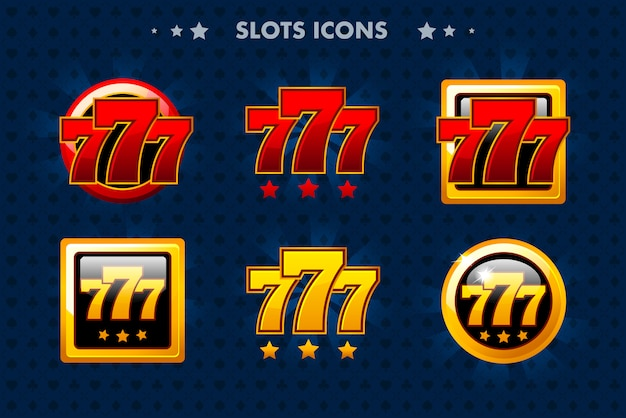 Slots app icon, glänzende objekte für asset game und gametwist