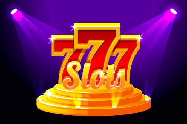 Slots banner casino auf dem bühnenpodest.