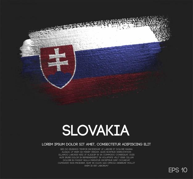 Slowakei flagge aus glitzer sparkle pinsel farbe