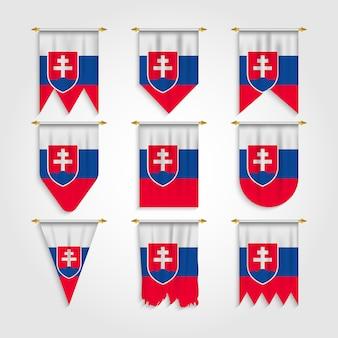 Slowakei flagge in verschiedenen formen