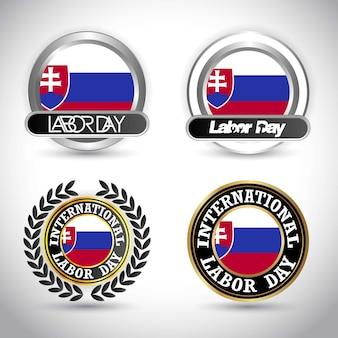 Slowakei-flagge mit arbeitstagesdesignvektor