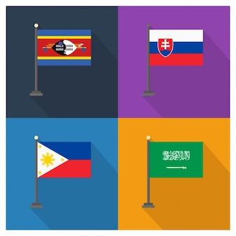 Slowakei Philippinen und Saudi-Arabien Flaggen