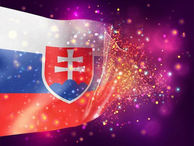 Slowakei vektor 3d-flagge auf rosa lila hintergrund mit beleuchtung und fackeln