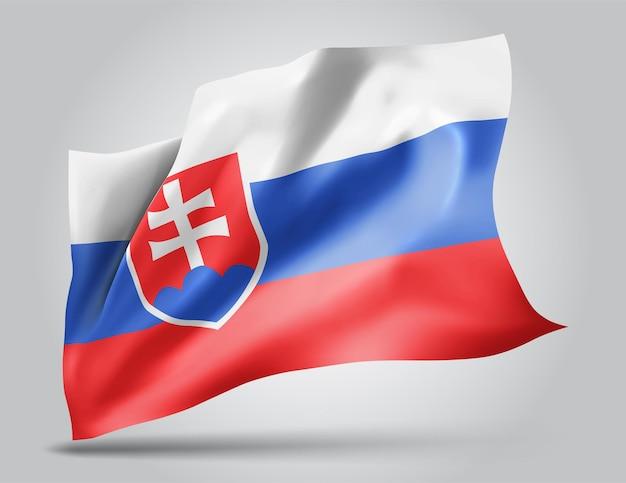 Slowakei, vektorflagge mit wellen und kurven im wind auf weißem hintergrund.