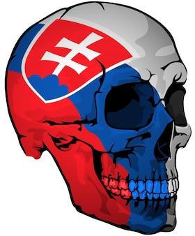 Slowakische flagge auf einem schädel gemalt