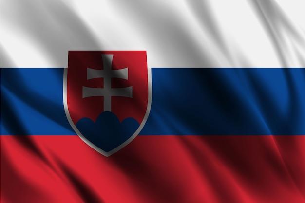 Slowakische nationalflagge, die seidenhintergrund schwenkt