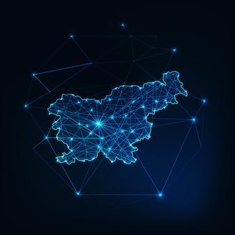 Slowenien karte umriss mit sternen und linien abstrakten rahmen. kommunikation, anschlusskonzept.