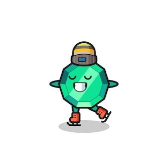 Smaragd-edelstein-cartoon als eislaufspieler, der aufführt, niedliches design für t-shirt, aufkleber, logo-element