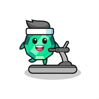 Smaragd-edelstein-cartoon-figur, die auf dem laufband läuft, niedliches design für t-shirt, aufkleber, logo-element