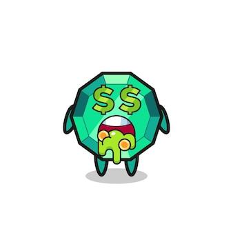 Smaragd-edelstein-charakter mit einem ausdruck von verrückt nach geld, süßem design für t-shirt, aufkleber, logo-element