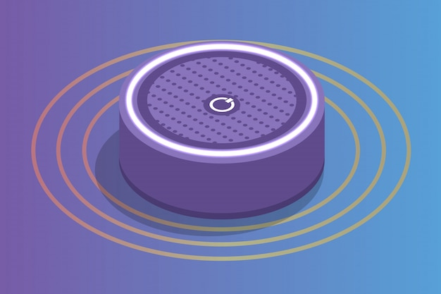 Smart assistant speaker, isometrisches sprachsteuerungskonzept. illustration