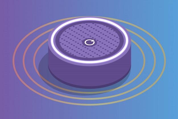 Smart assistant speaker, isometrisches sprachsteuerungskonzept. illustration