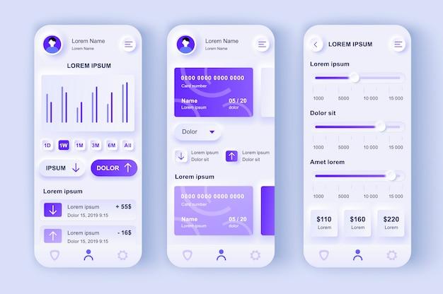 Smart banking einzigartiges neumorphisches design-kit.