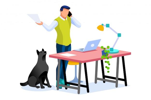 Smart boy works home-konzept