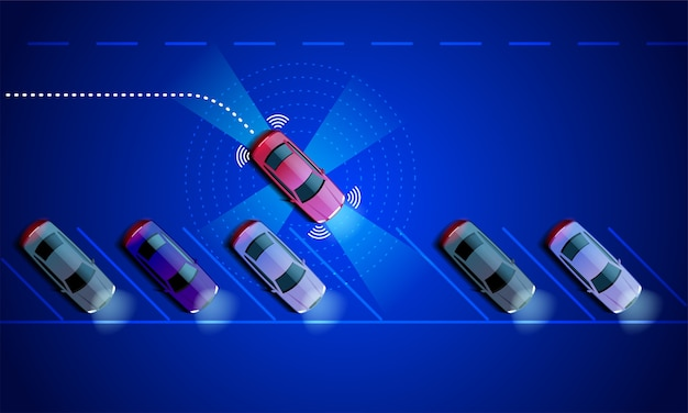 Smart car wird automatisch auf dem parkplatz geparkt, der blick von oben. die sicherheit des parkassistenzsystems scannt die straße.