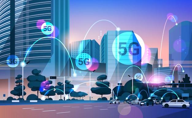 Smart city 5g online-kommunikationsnetzwerk verbindungskonzept für drahtlose systeme