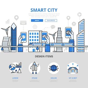 Smart city banner im flachen stil
