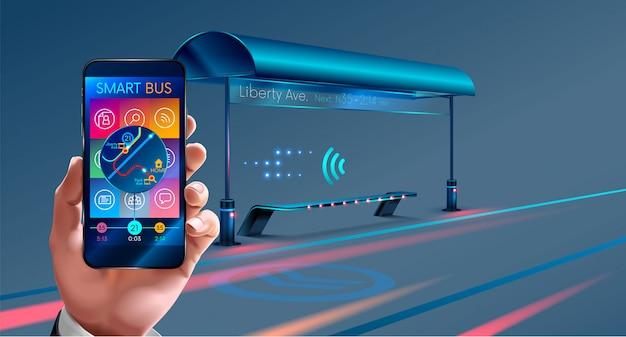 Smart city bushaltestelle, mobile anwendungen für den bus
