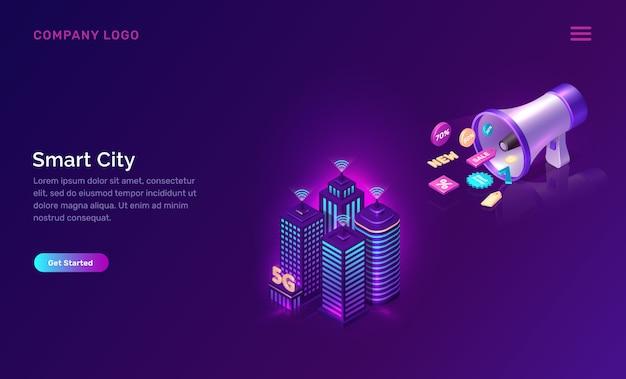 Smart city, drahtlose netzwerktechnologie-webvorlage