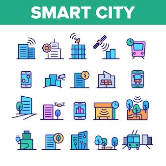 Smart city elements icons set