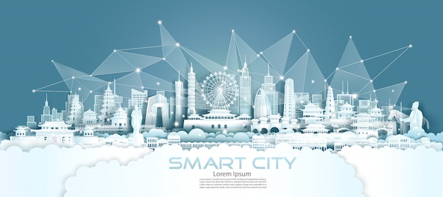 Smart city für die drahtlose technologiekommunikation mit architektur in china.