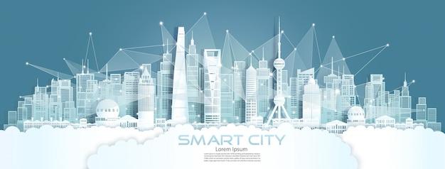 Smart city für die drahtlose technologiekommunikation mit architektur in shanghai.