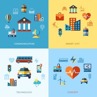 Smart city icons sammlung