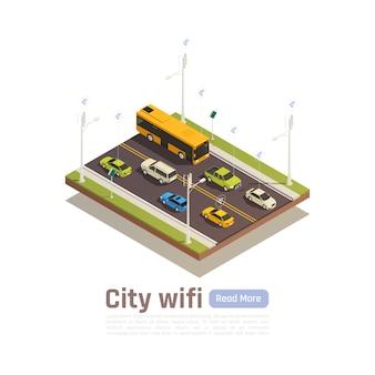 Smart city isometrische banner mit stadt wi-fi beschreibung und lesen sie mehr button vektor-illustration
