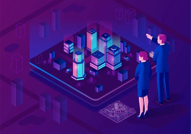 Smart city isometrische darstellung