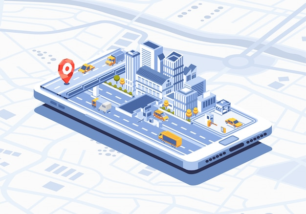 Smart city isometrische mobile app auf smartphone-illustration