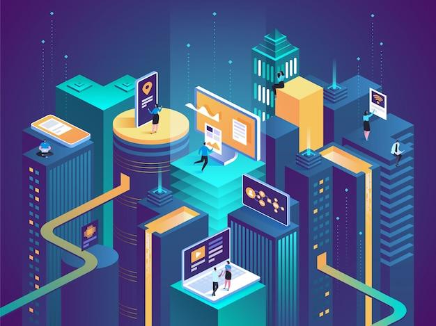 Smart city isometrisches konzept intelligente gebäude
