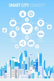 Smart city konzept infografiken.