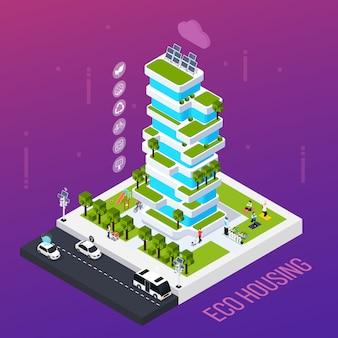 Smart city-konzept mit öko-gehäusetechnologie, isometrische vektorillustration