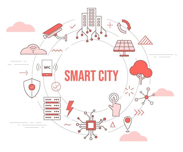 Smart city konzept skyline gebäude solarpanel baum kamera smartphone verbindungsserver stadt konzept mit icon set vorlage mit kreis runde form