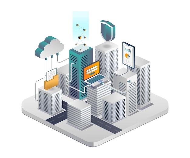 Smart city mit cloud-server und smartphone-datensicherheit