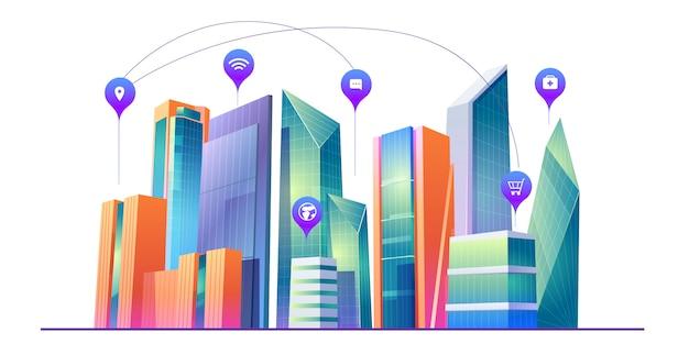 Smart city mit drahtloser kommunikationstechnologie Kostenlosen Vektoren