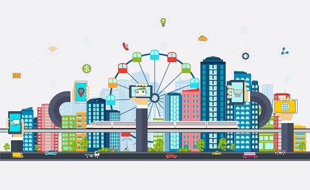 Smart city mit geschäftsschildern,