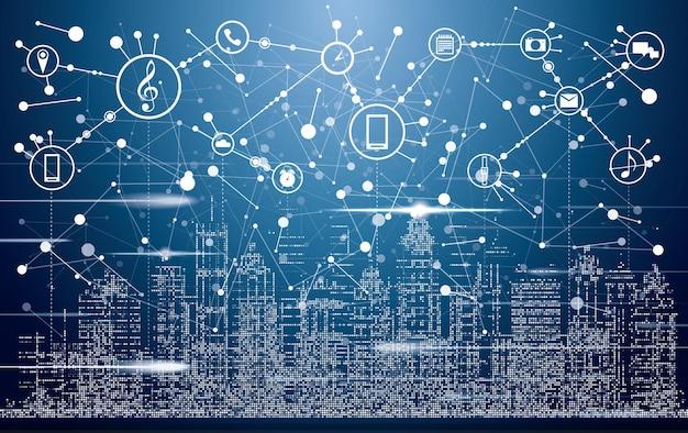 Smart city mit neongebäuden, netzwerken und symbolen für das internet der dinge. vektor-illustration.