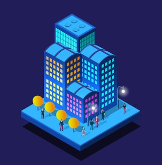 Smart city night neon ultraviolett gehenden menschen von isometrischen gebäuden