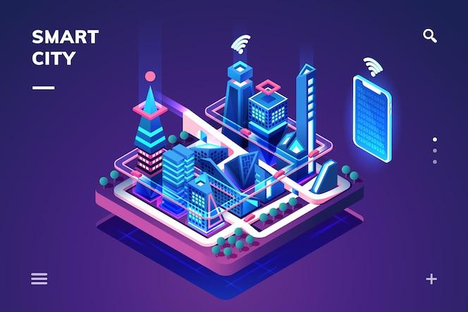 Smart city oder isometrische stadt.