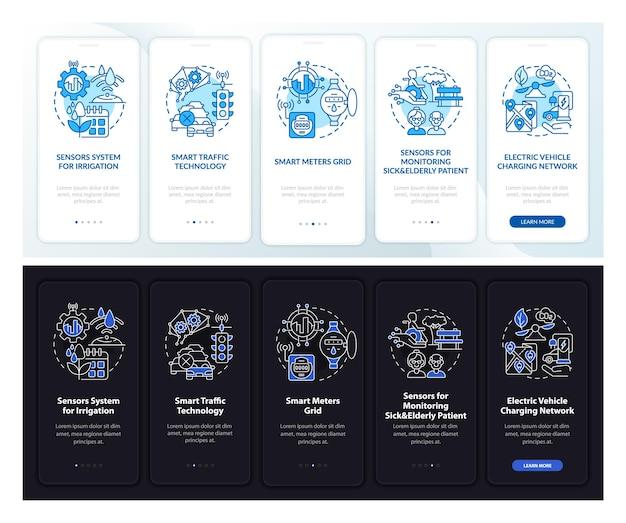 Smart city-projekte tag und nacht beim onboarding des bildschirms der mobilen app-seite