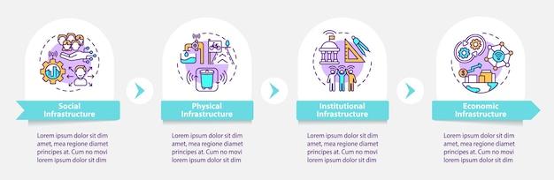 Smart city säulen vektor infografik vorlage. entwurfselemente der infrastrukturpräsentation skizzieren. datenvisualisierung mit 4 schritten. info-diagramm zur prozesszeitachse. workflow-layout mit liniensymbolen