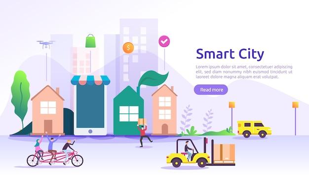 Smart city services-konzept mit internet-of-things-netzwerken und augmented reality. stadtlandschaft mit gebäuden, wolkenkratzern, verkehrsbanner