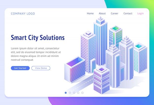 Smart city solutions banner. isometrische futuristische stadt mit wolkenkratzern,
